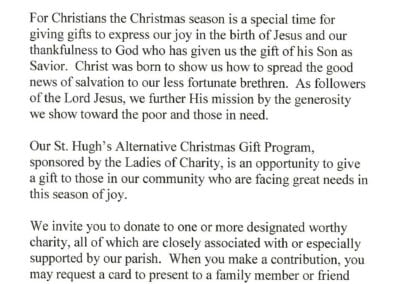 St. Hugh's Alternative Chirstmas Gift Program